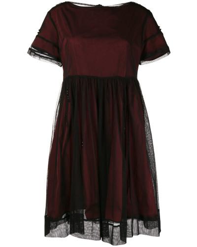 'S Max Mara mesh overlay boat neck dress