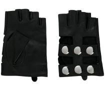 fingerless snap button gloves