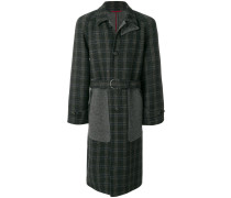 panelled checked coat