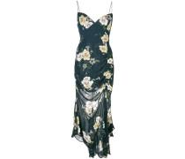 Gerafftes Kleid mit Blumen