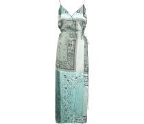 contrast paisley patterned silk dress