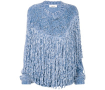 Oversized-Pullover mit Fransen