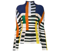 colour blocked printed sweater