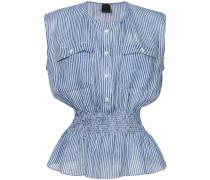 striped smocked waist blouse