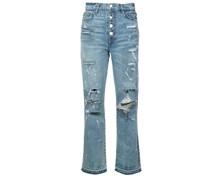 Gerade Jeans mit Kristallverzierung