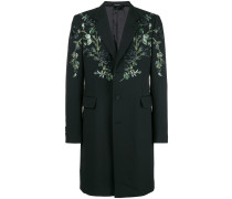 floral embroidered single breasted coat