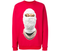 beaded balaclava print sweatshirt
