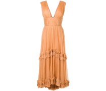 pleated ruffle trim dress