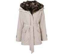 belted fur lined parka