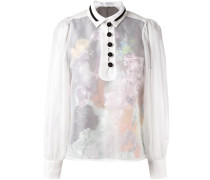 Semi-transparente Bluse mit Knopfleiste