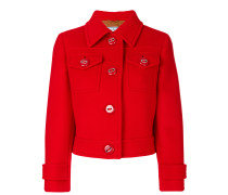 Cropped-Jacke mit spitzem Kragen