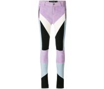 colour-block leather biker trousers