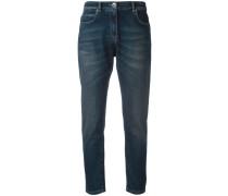 Cropped-Jeans mit Tragefalten