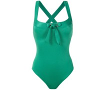front tie detail ribbed swimsuit