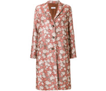 floral jacquard single-breasted coat