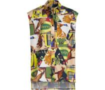 Sleeveless Archive Scarf Print Stretch Cotton Shirt