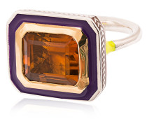 22k Yellow Gold Emerald Cut Citrine Ring