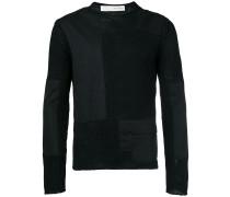 poplin-panelled sweater