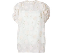 floral embroidered sheer top