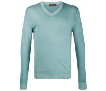 Schmaler Pullover mit V-Ausschnitt