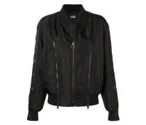 snap sleeve bomber jacket