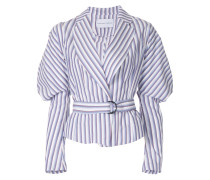 Cumulus puff-sleeve striped belted jacket