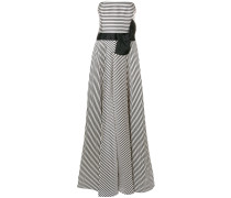 striped strapless gown