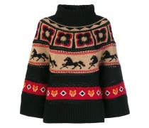 Intarsien-Pullover mit Rollkragen
