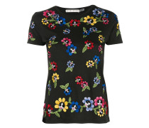 T-Shirt mit floraler Stickerei