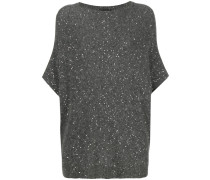 sequin embellished short sleeve sweater