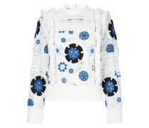 crochet floral design pullover