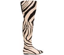 zebra print thigh boots