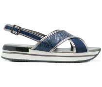 crossover flatform sandals