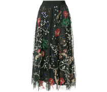 sequin pattern embroidered midi skirt