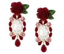 Rosen-Ohrclips mit Kristallen