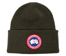 military green logo patch wool beanie