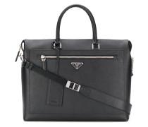 logo-plaque Saffiano leather briefcase