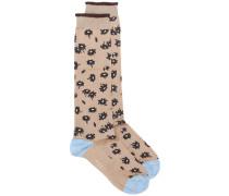 Intarsien-Socken mit Leopardenmuster