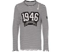 Gestreiftes Distressed-Langarmshirt