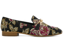 embroidered rose loafers