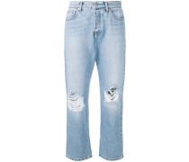 Distressed-Jeans mit Logo