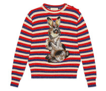 Wool lurex striped sweater with rabbit