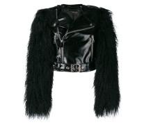 fur sleeved biker jacket