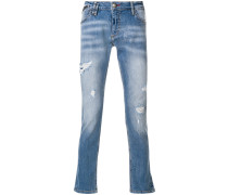 distressed super straight-cut jeans
