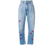 lip embroidered jeans