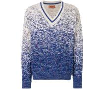 Ombré-Pullover mit V-Ausschnitt