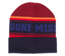 striped logo printed beanie hat