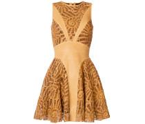 laser cut panelled mini dress