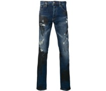 Distressed-Jeans mit Palmen-Print