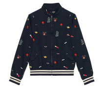 Embroidered cotton bomber jacket